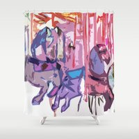 carousel Shower Curtains featuring Carousel by Kats Illustration