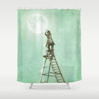 nan lawson Shower Curtains featuring Waning Moon by Eric Fan