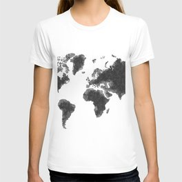 World Map Black Sketch, Map Of The World, Wall Art Poster, Wall Decal, Earth Atlas, Geography Map T-shirt