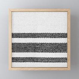 Woven Stripes Black and White Framed Mini Art Print