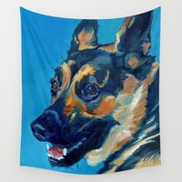 german Wall Tapestries featuring Baron the German Shepard by Barking Dog Creations Studio