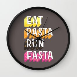 Eat Pasta typography Wall Clock