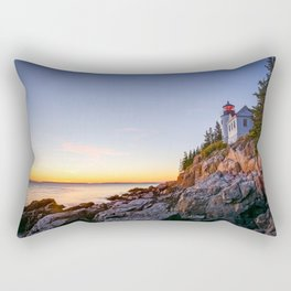 Acadia National Park Lighthouse Sunset Maine Coast Atlantic Ocean Landscape Rectangular Pillow