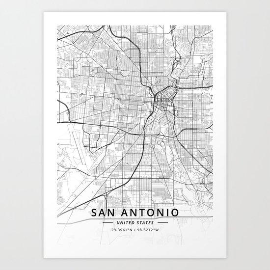 San Antonio, United States - Light Map by designermapart