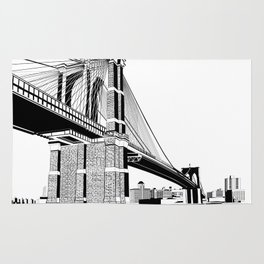 Brooklyn Bridge Black and White Rug