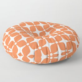 Mid Century Modern Star Pattern Orange 2 Floor Pillow