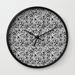 Numbers pattern in black and white Wall Clock