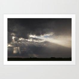 Stormy Sky with Sunbeams and Rain Art Print