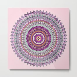 Pastel Mandala in shades on pink and purple Metal Print