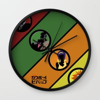 cowboy bebop Wall Clocks featuring Bebop Team by AngoldArts