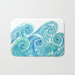 Watercolor Waves Bath Mat
