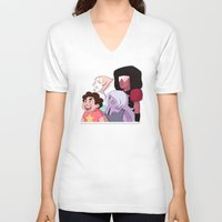 steven universe V-neck T-shirts featuring Steven Universe by Lisa Lynne Lumos