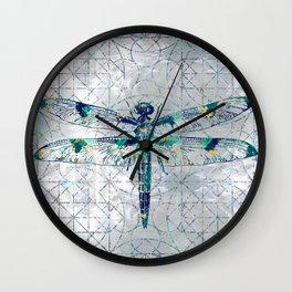 Gemstone Dragonfly on sacred geometry pattern Wall Clock