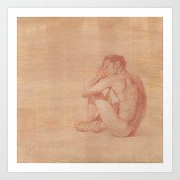 Male Nude Classic Figure Drawing Zen Peaceful Meditation Art Print