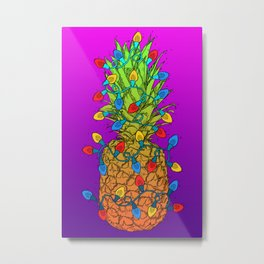 Pineapple Christmas Lights Metal Print