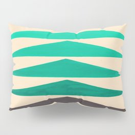 Colorful Turquoise Green Geometric Pattern with Black Accent Pillow Sham