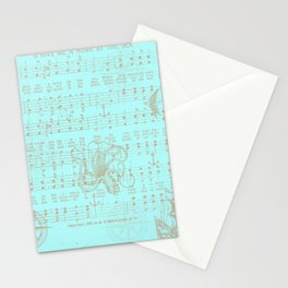 Vintage aqua brown nautical classic music sheet Stationery Cards