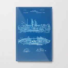 1896 Submarine Locomotive Patent - Blueprint Style Metal Print