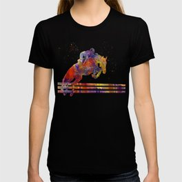 horse jumping fence T-shirt