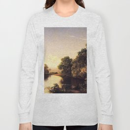 On The Esopus Creek Ulster County New York 1859 By David Johnson | Reproduction | Romanticism Landsc Long Sleeve T-shirt