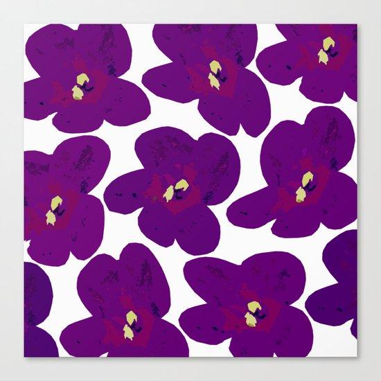 Purple Retro Flowers Canvas Print
