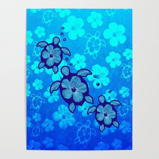 3 Blue Honu Turtles by chrismacdonaldstudios