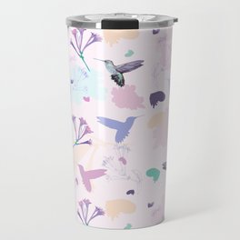 Hummingbird and flower pastel petal pattern Travel Mug