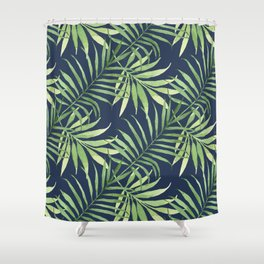 Tropical Branches on Dark Pattern 05 Shower Curtain