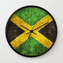 Vintage Aged and Scratched Jamaican Flag Wall Clock