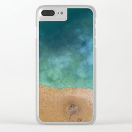 Blue Ocean Sea Shoreline - Drone photography Clear iPhone Case