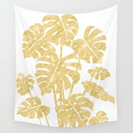 Delicate Monstera Golden #society6 Wall Tapestry