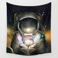 astronaut Wall Tapestries featuring Astronaut by J ō v