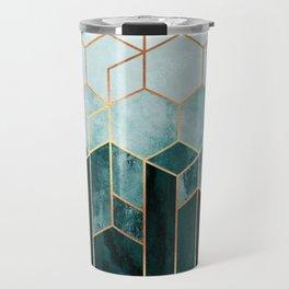 Teal Hexagons Travel Mug