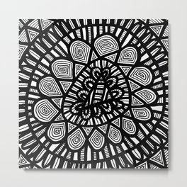 Black and White Doodle 7 Metal Print