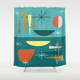 Turquoise Mid Century Modern Shower Curtain