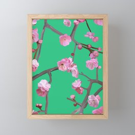 Plum blossom pattern peppermint green Framed Mini Art Print