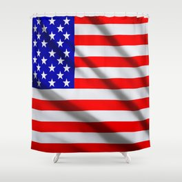 American USA flag. The flag flutters in waves Shower Curtain