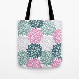Petal in Rose, Cyan and Milky Grey Tote Bag