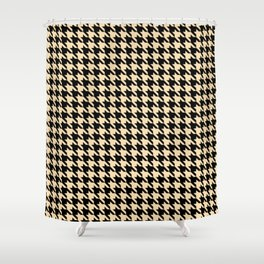 Black and Tan Classic houndstooth pattern Shower Curtain