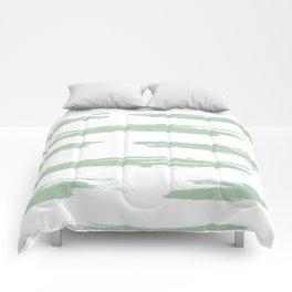 Swipe Stripe Pastel Cactus Green and White Comforters
