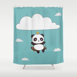 Great Kawaii Cute Panda In The Sky Shower Curtain