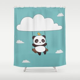 Kawaii Cute Panda In The Sky Shower Curtain
