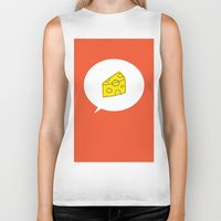 cheese Biker Tanks featuring cheese by ariel kotzer