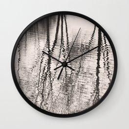 Mirroring. Lake reflections of trees. Wall Clock