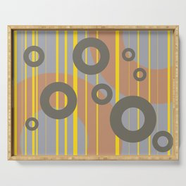 Rings and Lines in Yellow grey orange Colors Serving Tray