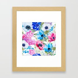 Spring Anemone Watercolor Blue Pink Framed Art Print