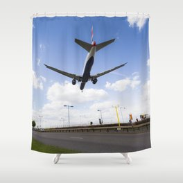 British Airways Landing at Heathrow Shower Curtain
