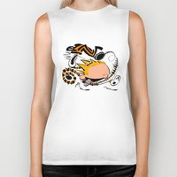calvin and hobbes Biker Tanks featuring Calvin and Hobbes caricature design by Eric Goodwin