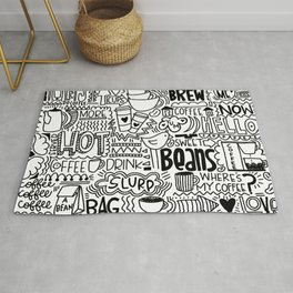 Coffee Lovers Hand-drawn Illustration Rug