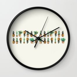 cactus and pineapples line 2 Wall Clock